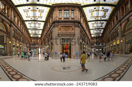 ROME, ITALY - JUNE 30: Galleria Alberto Sordi in Rome on JUNE 30, 2014. Galleria Colonna Shopping Arcade at Via del Corso in Rome, Italy. - stock photo