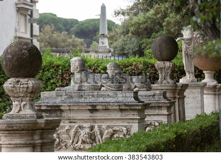 ROME, ITALY - JUNE 14, 2015: Marble statue in Villa Borghese, public park in Rome. Italy  Italy - stock photo
