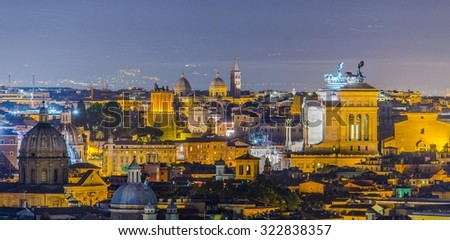 ROME, ITALY, JUNE 1, 2014: night view over rome taken from the top of gianicolo hill. the most interesting monument on the horizon is snow white vittoriano building with distinct statue on top. - stock photo