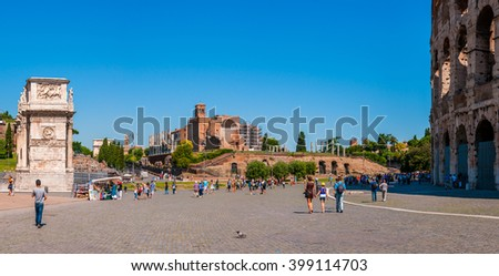 ROME, ITALY - JUNE, 6: Panorama square of the Colosseum overlooking the arch of Constantine and temple of Venus on 6 june 2012 - stock photo