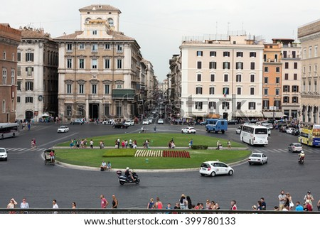 ROME, ITALY - JUNE 13, 2015: Piazza Venezia, view from Vittorio Emanuele II Monument, Rome - stock photo