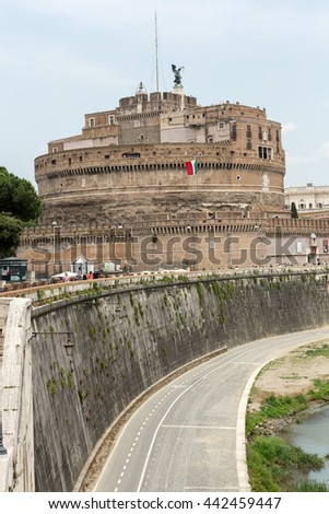 ROME, ITALY - JUNE 12, 2015: Rome - View of Castel Sant'Angelo, Castle of the Holy Angel built by Hadrian in Rome, along Tiber River - stock photo