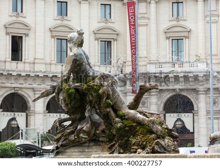 ROME, ITALY - JUNE 12, 2015: The Fountain of the Naiads on Piazza della Repubblica in Rome. Italy - stock photo