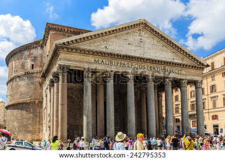 Rome, Italy - June 21, 2014: The Pantheon. It is the most preserved and influential building of ancient Rome. It is a Roman temple dedicated to all the gods of pagan Rome. - stock photo