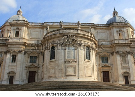 ROME, ITALY - MARCH 10, 2015: Basilica di Santa Maria Maggiore  in Rome, Italy. Largest Catholic Church dedicated to Virgin Mary in Italy - stock photo
