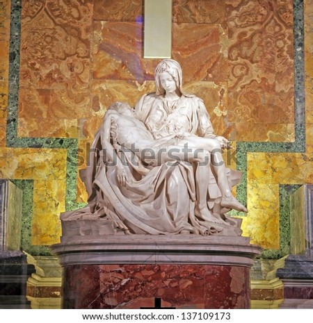 ROME, ITALY - MARCH 07: Pieta by Michelangelo in Saint Peter's Basilica, Vatican on March 07, 2011 in Rome, Italy - stock photo