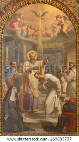 ROME, ITALY - MARCH 27, 2015: The Baptism of st. Augustine ad st. Ambrose fresco in Basilica di Sant Agostino (Augustine) by Giovanni Battista Speranza from 18. cent. - stock photo