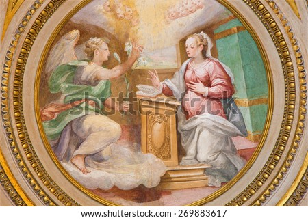 ROME, ITALY - MARCH 27, 2015: The fresco of Annunciation in apse of side chapel of st. Joseph (1587 - 1588) by A. Nucci in Basilica di Sant Agostino (Augustine). - stock photo