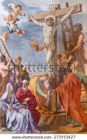 ROME, ITALY - MARCH 26, 2015: The fresco of Crucifixion  in church Chiesa di Santa Maria ai Monti by  Giovanni Battista della Marca from 16. cent.  - stock photo