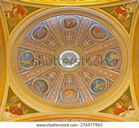 ROME, ITALY - MARCH 25, 2015: The fresco of side cupola in church Basilica dei Santi XII Apostoli from 19. cent. with the scenes Jesus torture and with the popes. - stock photo