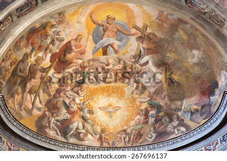 ROME, ITALY - MARCH 27, 2015: The Jesus Christ in the heaven with the st. John the Baptist and st. Peter fresco by Scipione Pulzone from 16. cent. in main apse of church Santo Spirito in Sassia. - stock photo