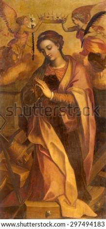 ROME, ITALY - MARCH 26, 2015: The painting of st. Katherine in chapel of st. Katherine of Alexandria by Marcello Venusti (1550 - 1560) in Basilica di Sant Agostino (Augustine). - stock photo
