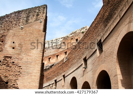 Rome, Italy - May, 11.2016 - Colosseum- Inside view of the theater in Rome,The Colosseum is a major tourist attraction in Rome - stock photo