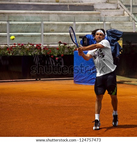 ROME, ITALY - MAY 13: Marcos Baghdatis trains at Internazionali BNL on May 13, 2012 in Rome, Italy - stock photo