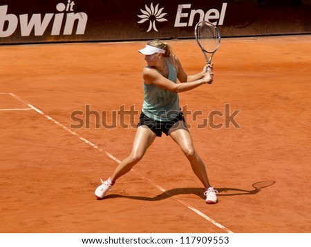 ROME, ITALY - MAY 13: Maria Sharapova trains at Internazionali BNL on May 13, 2012 in Rome, Italy - stock photo