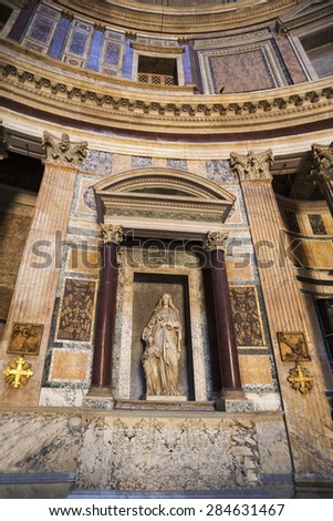 ROME, ITALY - MAY 2 2014 : Pantheon in Rome, Italy . Pantheon was built as a temple to all the gods of ancient Rome, and rebuilt by the emperor Hadrian about 126 AD.  - stock photo