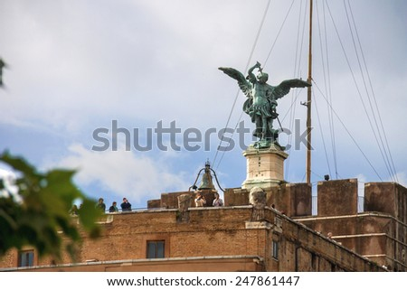 ROME, ITALY - MAY 03, 2014: People in the Castel Sant'Angelo, Rome, Italy - stock photo