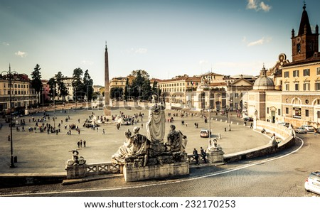 ROME, ITALY - NOVEMBER 16, 2014: Piazza del Popolo is a large urban square in Rome, Italy. - stock photo