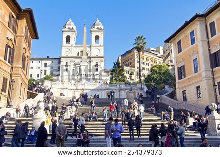 ROME, ITALY, November 25, 2011: The famous Spanish Steps at morning, Rome, Italy - stock photo
