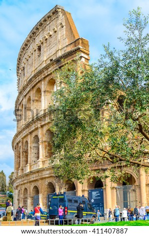 ROME, ITALY- OCTOBER 21, 2015: Colosseum in Rome, Italy. The Colosseum is a most popular tourist attraction in Rome. - stock photo