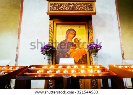 ROME, ITALY - OCTOBER 30: Icon shows the Virgin Mary with the baby Jesus in the Greek-Catholic Church of Santa Maria in Cosmedin in Rome, Italy on October 30, 2014. - stock photo