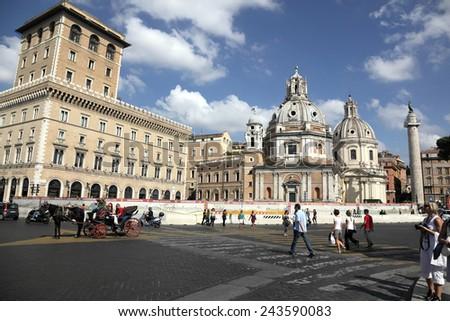 ROME, ITALY - OCTOBER 08, 2012: Piazza della Madonna dei Monti, wide angle lens - stock photo