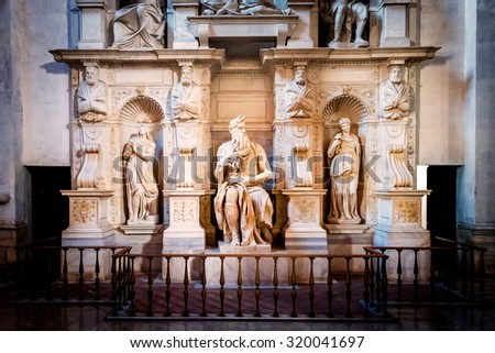 ROME, ITALY - OCTOBER 30: Sculpture of the prophet Moses, made by the famous artist Michelangelo in the church of San Pietro in Vincoli in Rome, Italy on October 30, 2014. - stock photo