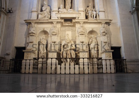 ROME, ITALY - OCTOBER 8, 2015: St. Peter in Vincoli, funeral monument for Pope Julius II with the famous Moses by Michelangelo - stock photo