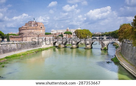 ROME, ITALY - SEP 20, 2014: Ponte Sant'Angelo (Aelian Bridge) across the Tiber river. Aerial view from the Mausoleum of Hadrian, known as Castle of the Holy Angel (Castel Sant'Angelo). Rome, Italy.  - stock photo