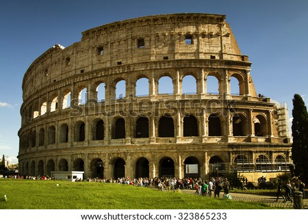 ROME, ITALY-SEPT 24, 2015:  Beautiful view of the Colosseum today is now a major tourist attraction in Rome with thousands of tourists each year visiting in Rome, Italy, - stock photo