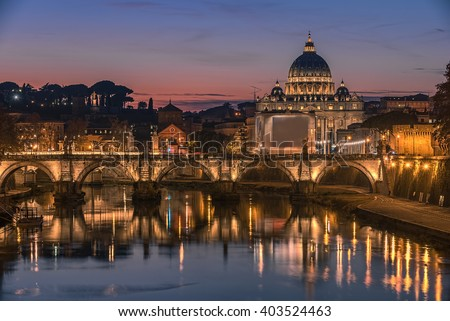Rome, Italy: St. Peter's Basilica, Saint Angelo Bridge and Tiber River in the sunset - stock photo