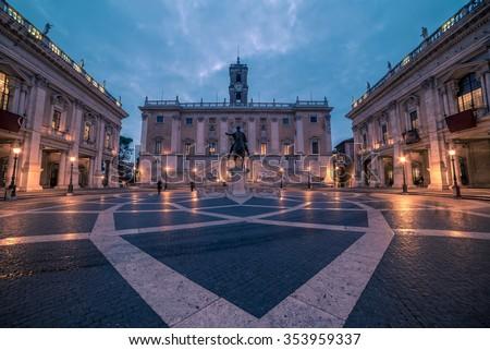 Rome, Italy: The Capitoline Square - stock photo