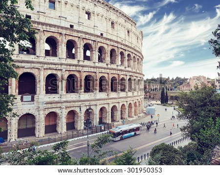 Rome, Italy. The Colosseum, famous ancient Roman amphitheater - stock photo