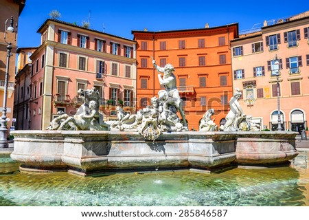Rome, Italy. The Fountain of Neptune, at Piazza Navona. This fountain from 1576 depicts the god Neptune with his trident fight against an octopus and other mythological creatures - stock photo
