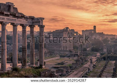 Rome, Italy: The Roman Forum, Latin: Forum Romanum, Italian: Foro Romano, in the spectacular sunrise. Beautiful representative picture of antique, ruins and time. Historical center of Forever City. - stock photo
