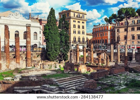 Rome, Italy. The ruins of ancient buildings in the center of Rome - stock photo