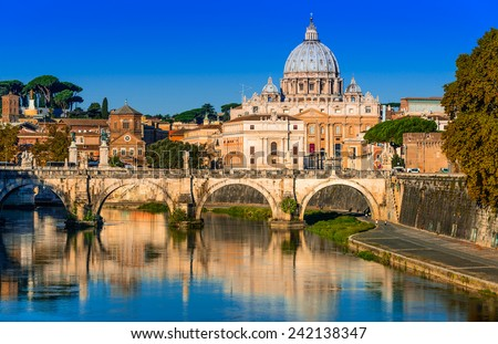 Rome, Italy. Vatican dome of San Pietro and Sant Angelo Bridge, over Tiber river. - stock photo