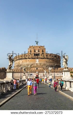 ROME - JULY 11: Castel Sant Angelo in a summer day in Rome, Italy on July 11, 2014 - stock photo