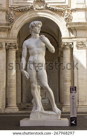 ROME - July 2014: copy of the Statue of David by Michelangelo at the entrance to the Capitoline Museum in Rome during the exhibition Michelangelo, July 01, 2014 Rome, Italy - stock photo