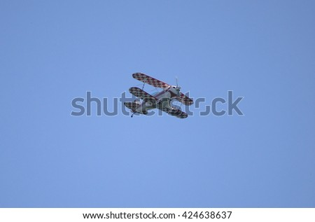 ROME - JUNE 3: A Pitts Special aerobatic biplane performs at the Rome International Air Show on June 3, 2012 in Rome, Italy - stock photo