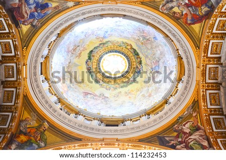 ROME - MARCH 23:  Interior of the Saint Peter Cathedral in Vatican on MARCH 23, 2012 in Rome, Italy. St. Peter's Basilica until recently was considered largest Christian church in world - stock photo