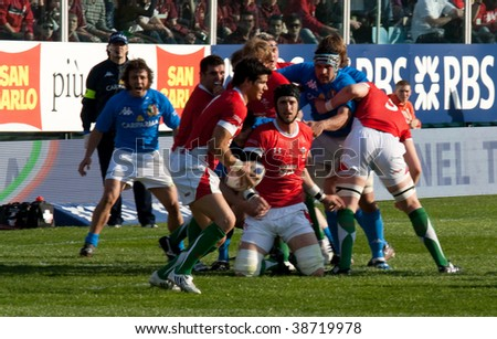 ROME - March 14: Six Nation match of Rugby between Italy and Wales on March 14, 2009 at Flaminio stadium in Rome, Italy. - stock photo