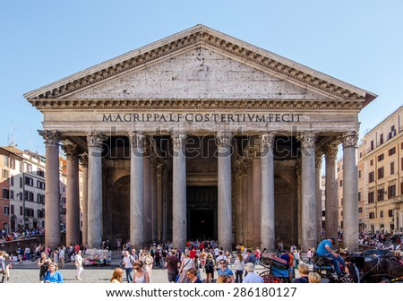 ROME - MAY 10 : The Pantheon on May 10, 2015 in Rome, Italy. Pantheon is ancient temple build in 2nd century AD, located on Piazza della Rotonda, one of most popular tourist sights in Rome. - stock photo