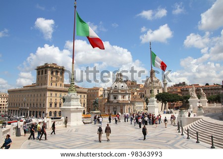 ROME - MAY 13: Tourists at Vittoriano on May 13, 2010 in Rome, Italy. Piazza Navona is a popular destination in Rome, the 3rd most visited city in European Union. - stock photo