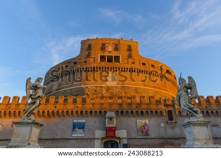 ROME - OCTOBER 18: Castel Sant'Angelo on October 18, 2014 in Rome, Italy. The Castel Sant'Angelo was used by the popes as a fortress and castle, and is now a museum. - stock photo