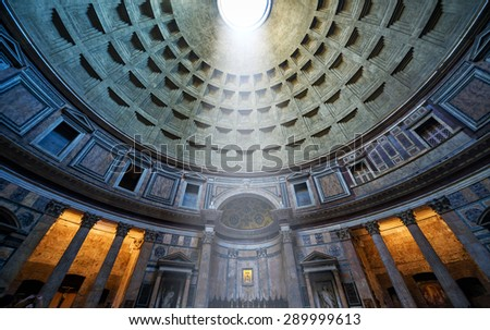 ROME - OCTOBER 2, 2012: The famous light ray in Pantheon. Pantheon is a famous monument of ancient Roman culture, the temple of all the gods, built in the 2nd century. - stock photo