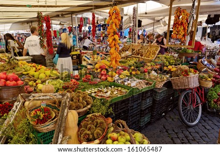 Rome - SEP 21: Campo de Fiori, September 21, 2012 in Rome, Italy. Field of Flowers is one of the main squares of Rome, lively both day, market, and at night, when the terraces are filled with tourists - stock photo