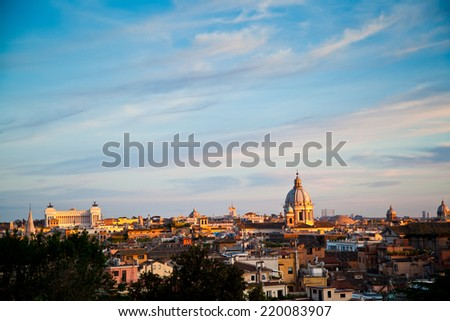 Rome skyline at dusk - stock photo