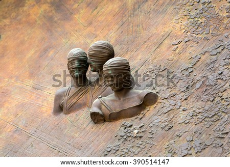 Rome - The artistic detail from door to the Basilica of St. Mary of the Angels and the Martyrs . Italy - stock photo