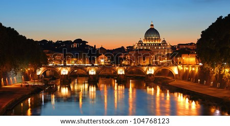 Rome, Vatican after sunset - stock photo